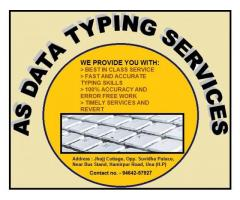 Online and offline Typing Sevices.