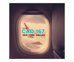 Book Return  flight  New York- Dallas CAD $167 Onwards