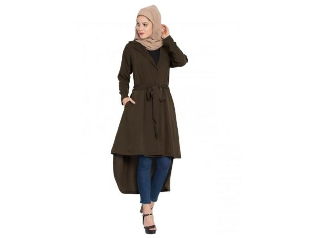 FULL SLEEVES LONG JACKET WITH MATCHING FABRIC BELT