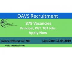 OAVS Recruitment 2019 (878) Principal, PGT, TGT Jobs Apply Now
