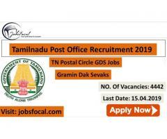 Tamilnadu Post Office Recruitment 2019 4442 GDS TN Postal Circle Jobs