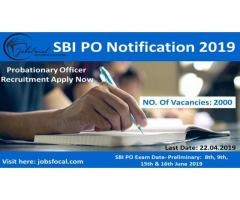 SBI PO Notification 2019 2000 Probationary Officer Recruitment Apply Now