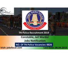 TN Police Recruitment 2019 (8863) Constable, Jail Warder Jobs Apply Till Last Date