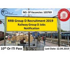 RRB Group D Recruitment 2019 (103769) Railway Group D Jobs  Apply Online