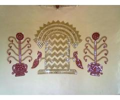 Traditional Mud Mirror Work Wallart