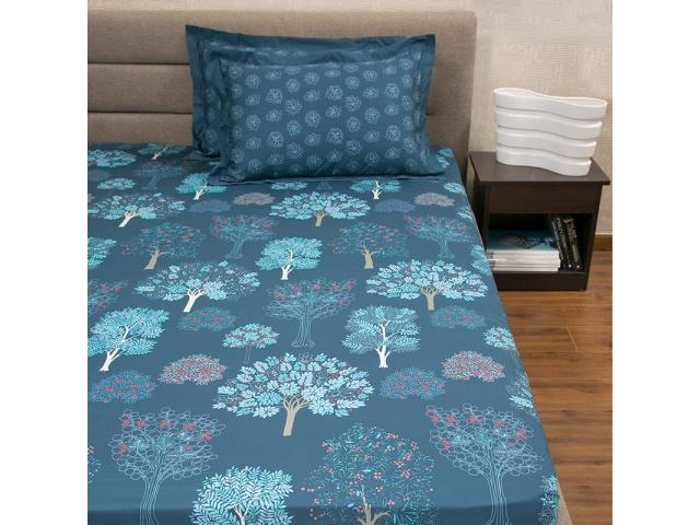 Acadia Blue Cotton Bed Sheet Online