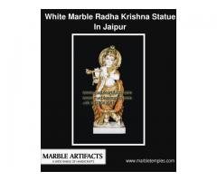White Marble Radha Krishna Idol | MarbleTemples