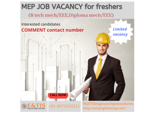 MEP Job openings for freshers in kerala/abroad Urgent requirement