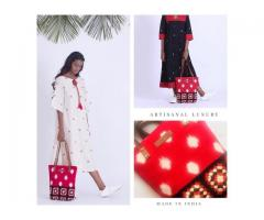 Buy Online Ikat handcrafted designer dresses Kurtas, Bags from Kalamargam