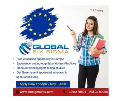 Study Masters in Europe for free through Global Six Sigma Consultants