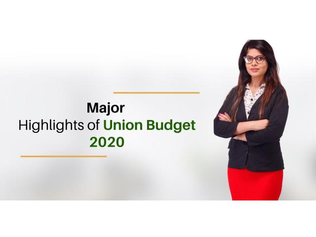 Union Budget 2020, Highlights of Union Budget 2020