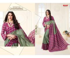 Biggest B2B Supplier of Cotton Check Pattern Printed Sarees Set