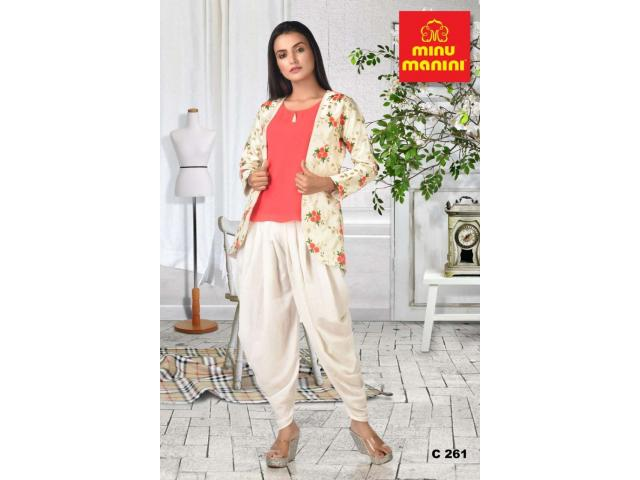 White embroidery jacket with pink georgette top and white muslin dhoti pant