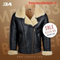 Mens Shearling Leather Jacket For Sale