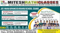 Next Online Screening cum Scholarship Test In Mitesh Rathi Classes