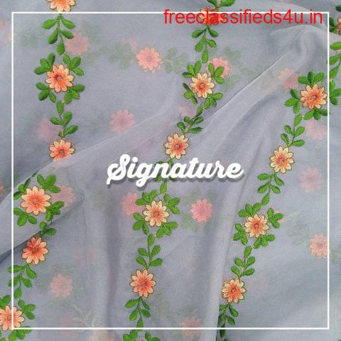 Buy Cement Grey Organza Fabric  With  Floral Embroidery at MK SIGNATURE Groom and Bride