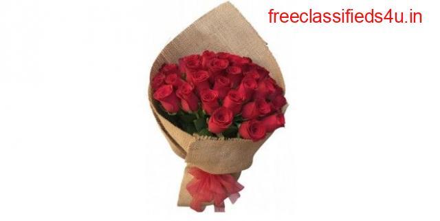 Order Online Romantic Special 30 Premium Quality Red Roses Bouquet