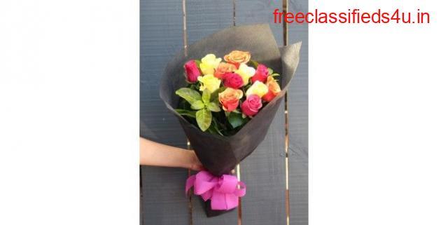 Order Online Premium Quality Mix Colour Roses Hand Bouquet