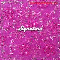 Buy Fuchsia Pink Net Fabric With Floral Thread Work at MK SIGNATURE Groom and Bride