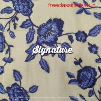 Buy Beige Net Fabric With Indigo Purple Floral Thread Work at MK SIGNATURE Groom and Bride