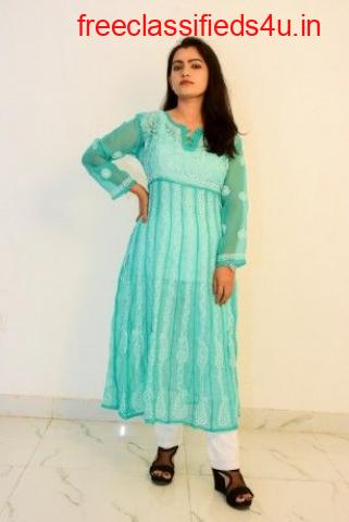 Buy Hand Embroidered Lucknowi Chikan sky Blue Georgette Kurti