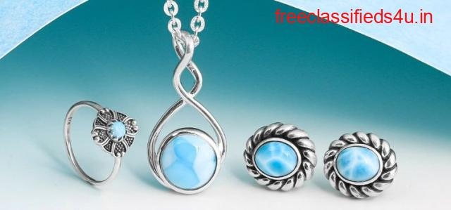 Netural Sterling Silver Larimar stone Jewelry at Wholesale price