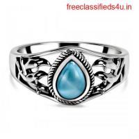 Geninun Sterling Silver Larimar stone rings at Wholesale price