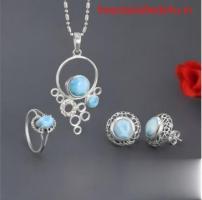 Geninun Sterling Silver Larimar Stone Jewelry at Wholesale price
