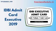 IDBI Admit Card Executive 2019